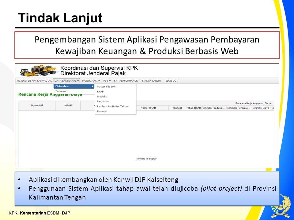 KPK, Kementerian ESDM, DJP Tindak Lanjut Pengembangan Sistem Aplikasi Pengawasan Pembayaran Kewajiban Keuangan & Produksi Berbasis Web Aplikasi dikemb
