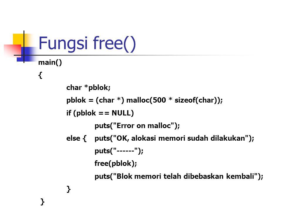 Fungsi free() main() { char *pblok; pblok = (char *) malloc(500 * sizeof(char)); if (pblok == NULL) puts(
