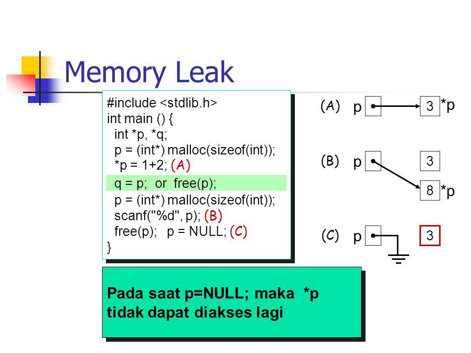Memory Leak #include int main () { int *p, *q; p = (int*) malloc(sizeof(int)); *p = 1+2; (A) p = (int*) malloc(sizeof(int)); scanf(