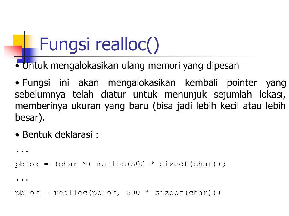 Fungsi realloc() Untuk mengalokasikan ulang memori yang dipesan Fungsi ini akan mengalokasikan kembali pointer yang sebelumnya telah diatur untuk menu