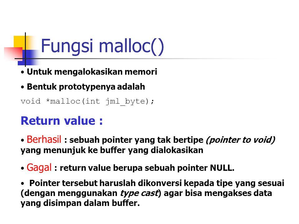 Fungsi malloc() Untuk mengalokasikan memori Bentuk prototypenya adalah void *malloc(int jml_byte); Return value : Berhasil : sebuah pointer yang tak b