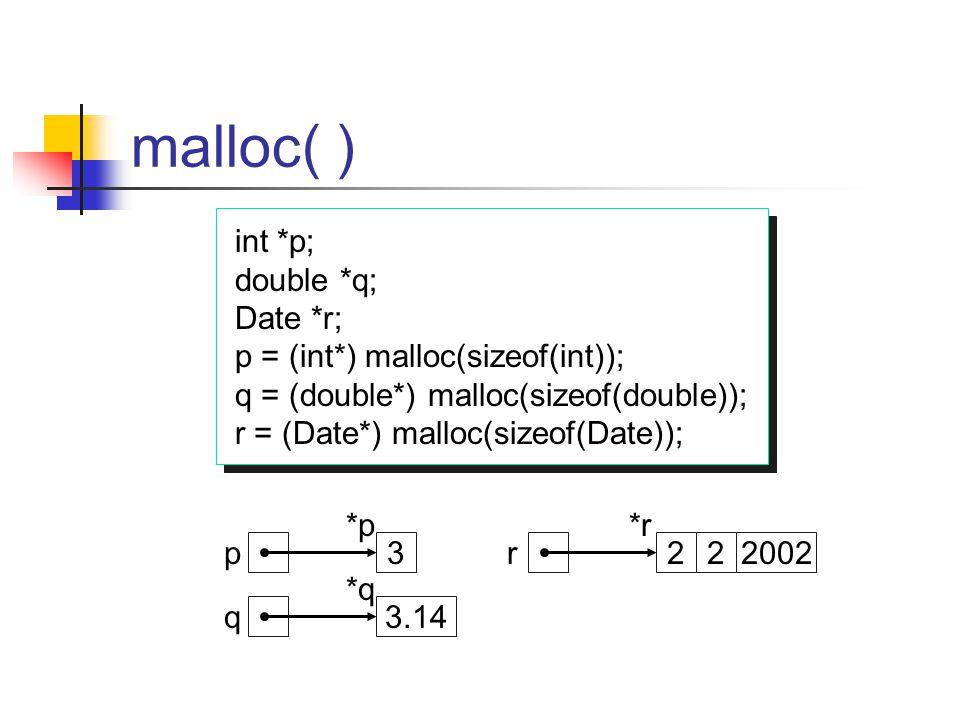 malloc( ) int *p; double *q; Date *r; p = (int*) malloc(sizeof(int)); q = (double*) malloc(sizeof(double)); r = (Date*) malloc(sizeof(Date)); int *p;