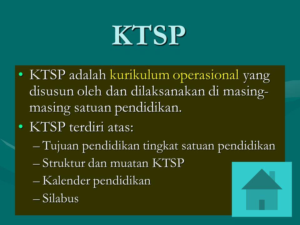 Prinsip Pengembangan KTSP 1.Berpusat pada potensi, perkembangan, kebutuhan, dan kepentingan peserta didik dan lingkungannya 2.Beragam dan terpadu 3.Tanggap perkembangan IPTEKS 4.Relevan dengan kebutuhan kehidupan 5.Menyeluruh dan berkesinambungan 6.Belajar sepanjang hayat (life long learning) 7.Seimbang antara kepentingan nasional dan daerah