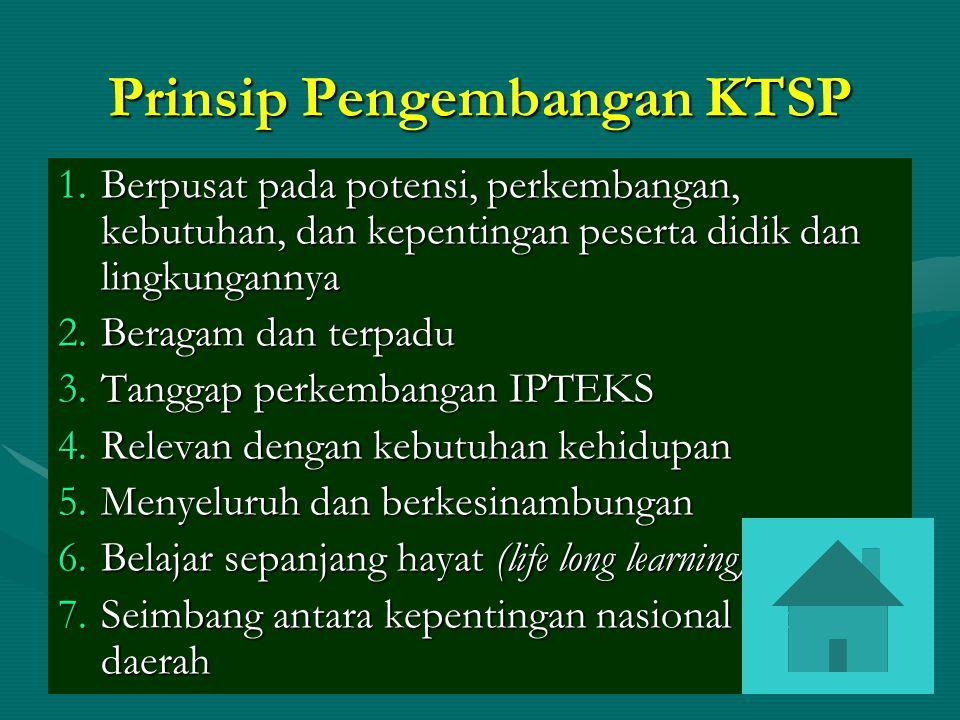 Prinsip Pengembangan KTSP 1.Berpusat pada potensi, perkembangan, kebutuhan, dan kepentingan peserta didik dan lingkungannya 2.Beragam dan terpadu 3.Ta