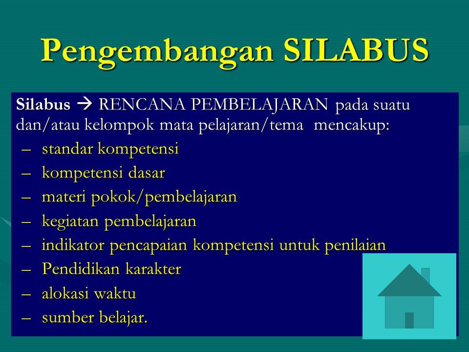 Pengembangan SILABUS Silabus  RENCANA PEMBELAJARAN pada suatu dan/atau kelompok mata pelajaran/tema mencakup: –standar kompetensi –kompetensi dasar –