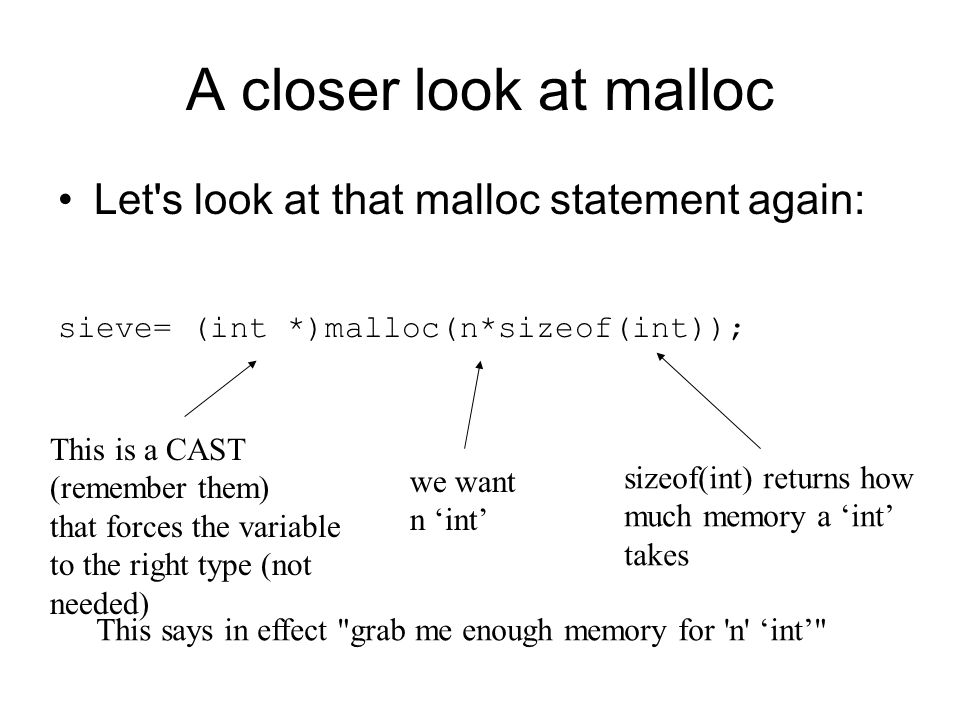 A closer look at malloc Let's look at that malloc statement again: sieve= (int *)malloc(n*sizeof(int)); sizeof(int) returns how much memory a 'int' ta