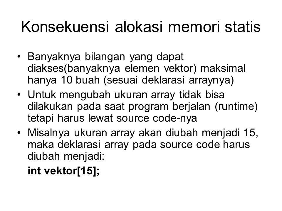 Solusi menggunakan pointer dan 'malloc' Alokasi memori dinamis int *vektor;//deklarasi pointer untuk memori penyimpan vektor int *catatan; int i,n; main( ) { cout<< masukkan n! ; cin>>n; //membaca n dari keyboard vektor = (int *)malloc(n*sizeof(int));//alokasi memori catatan=vektor; cout<< masukkan bilangan! <<endl; for(i=0;i<n;i++) { cin>>*vektor; //membaca bilangan vektor++; } cout<< menampilkan vektor : <<endl; vektor=catatan; for(i=0;i<n;i++) { cout<<*vektor; //menampilkan bilangan vektor++; }