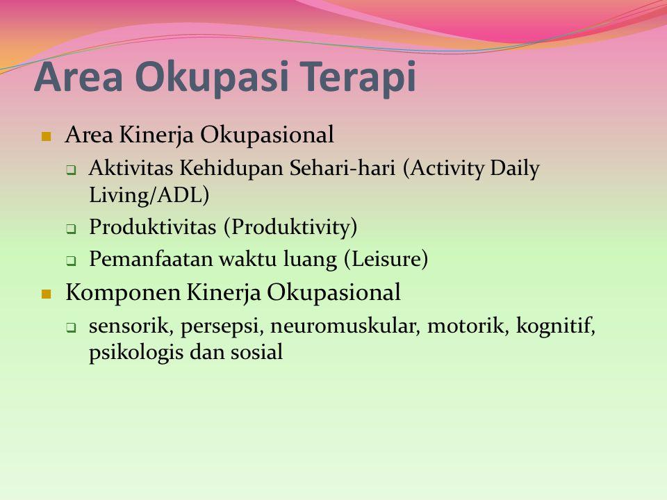 Area Okupasi Terapi Area Kinerja Okupasional  Aktivitas Kehidupan Sehari-hari (Activity Daily Living/ADL)  Produktivitas (Produktivity)  Pemanfaata