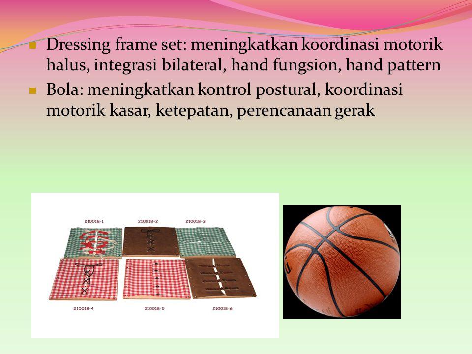 Dressing frame set: meningkatkan koordinasi motorik halus, integrasi bilateral, hand fungsion, hand pattern Bola: meningkatkan kontrol postural, koord
