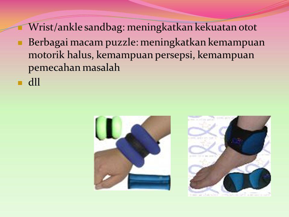 Wrist/ankle sandbag: meningkatkan kekuatan otot Berbagai macam puzzle: meningkatkan kemampuan motorik halus, kemampuan persepsi, kemampuan pemecahan m