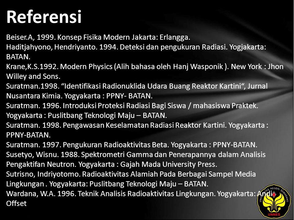 Referensi Beiser.A, 1999.Konsep Fisika Modern Jakarta: Erlangga.