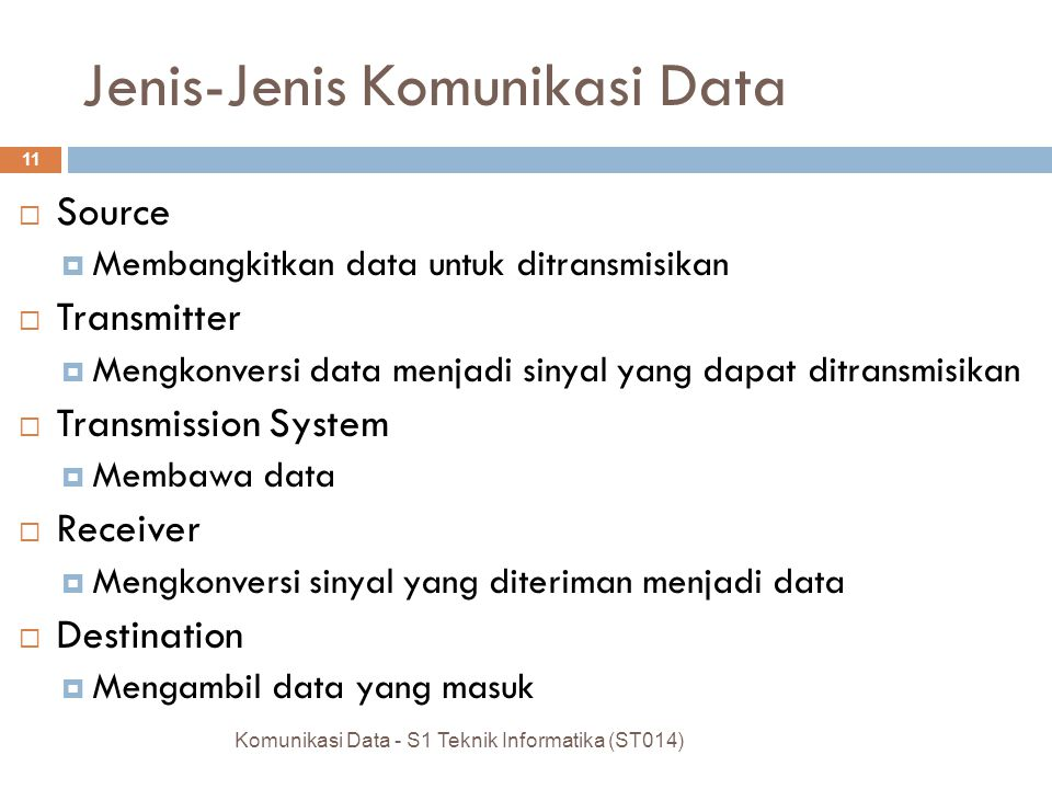 Tipe Data Komunikasi Data  Semua tipe data dapat disimpan dan diolah pada sebuah komputer dan dapat ditransfer melalui jaringan komputer Komunikasi D