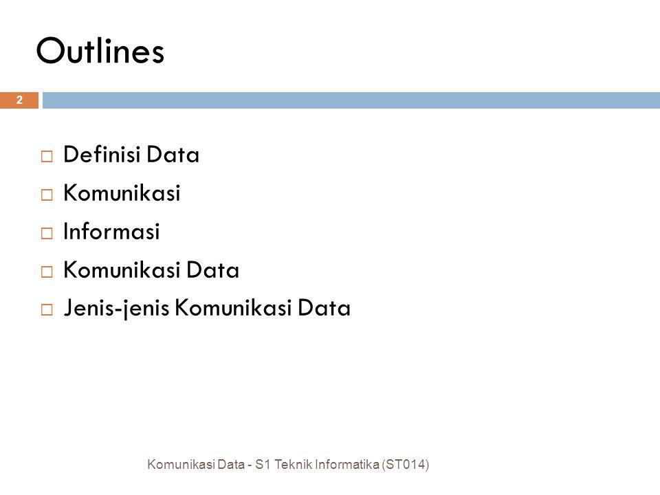 KOMUNIKASI DATA – ST014 Definisi Dan Jenis S1 Teknik Informatika DOSEN PENGAMPU : Ferry Wahyu Wibowo, S.Si., M.Cs Joko Dwi Santoso, M.Kom Naskan, S.Ko