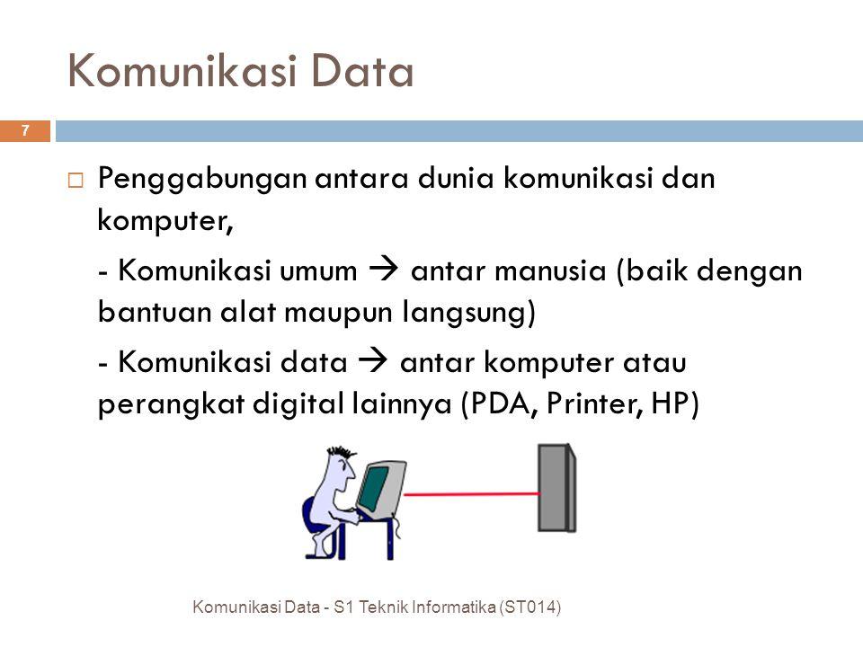 Komunikasi Data  Perpaduan antara teknik komunikasi dan pengolahan data Komunikasi Data - S1 Teknik Informatika (ST014) 6 Teknik komunikasi Pengolaha