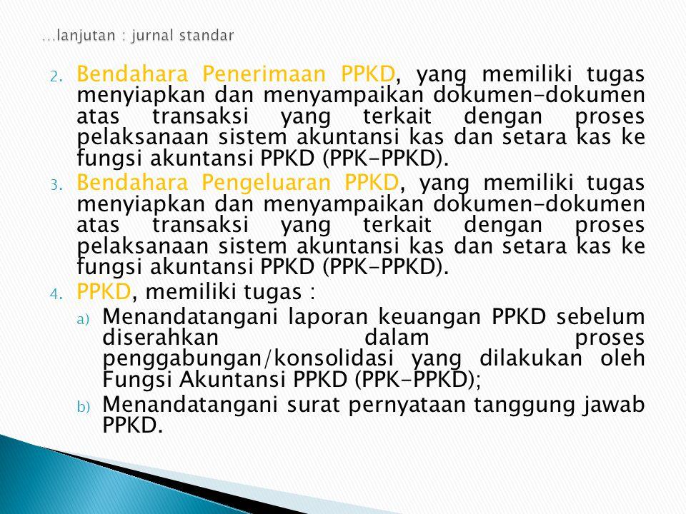 2. Bendahara Penerimaan PPKD, yang memiliki tugas menyiapkan dan menyampaikan dokumen-dokumen atas transaksi yang terkait dengan proses pelaksanaan si