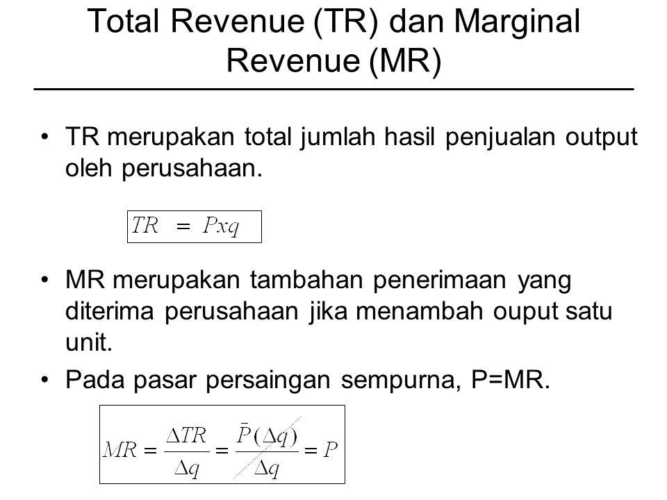 Total Revenue (TR) dan Marginal Revenue (MR) TR merupakan total jumlah hasil penjualan output oleh perusahaan.