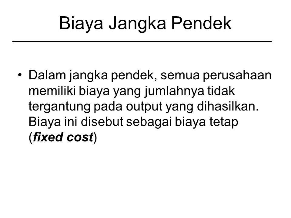 Biaya Jangka Pendek Dalam jangka pendek, semua perusahaan memiliki biaya yang jumlahnya tidak tergantung pada output yang dihasilkan.