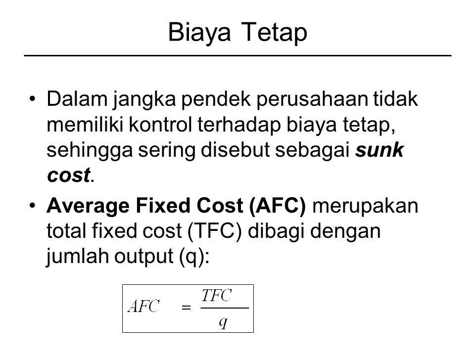 Biaya Tetap Dalam jangka pendek perusahaan tidak memiliki kontrol terhadap biaya tetap, sehingga sering disebut sebagai sunk cost.