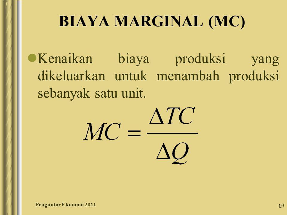 19 BIAYA MARGINAL (MC) Kenaikan biaya produksi yang dikeluarkan untuk menambah produksi sebanyak satu unit. Pengantar Ekonomi 2011