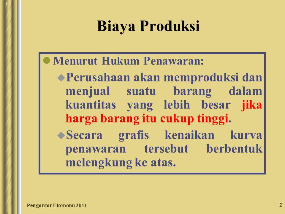 Pengantar Ekonomi 2011 2 Biaya Produksi Menurut Hukum Penawaran: u Perusahaan akan memproduksi dan menjual suatu barang dalam kuantitas yang lebih bes