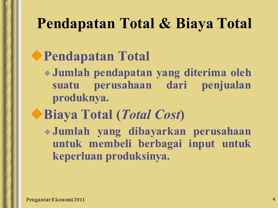 Pengantar Ekonomi 2011 4 Pendapatan Total & Biaya Total uPendapatan Total u Jumlah pendapatan yang diterima oleh suatu perusahaan dari penjualan produ