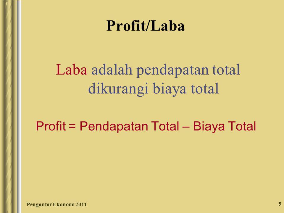Pengantar Ekonomi 2011 5 Profit/Laba Laba adalah pendapatan total dikurangi biaya total Profit = Pendapatan Total – Biaya Total