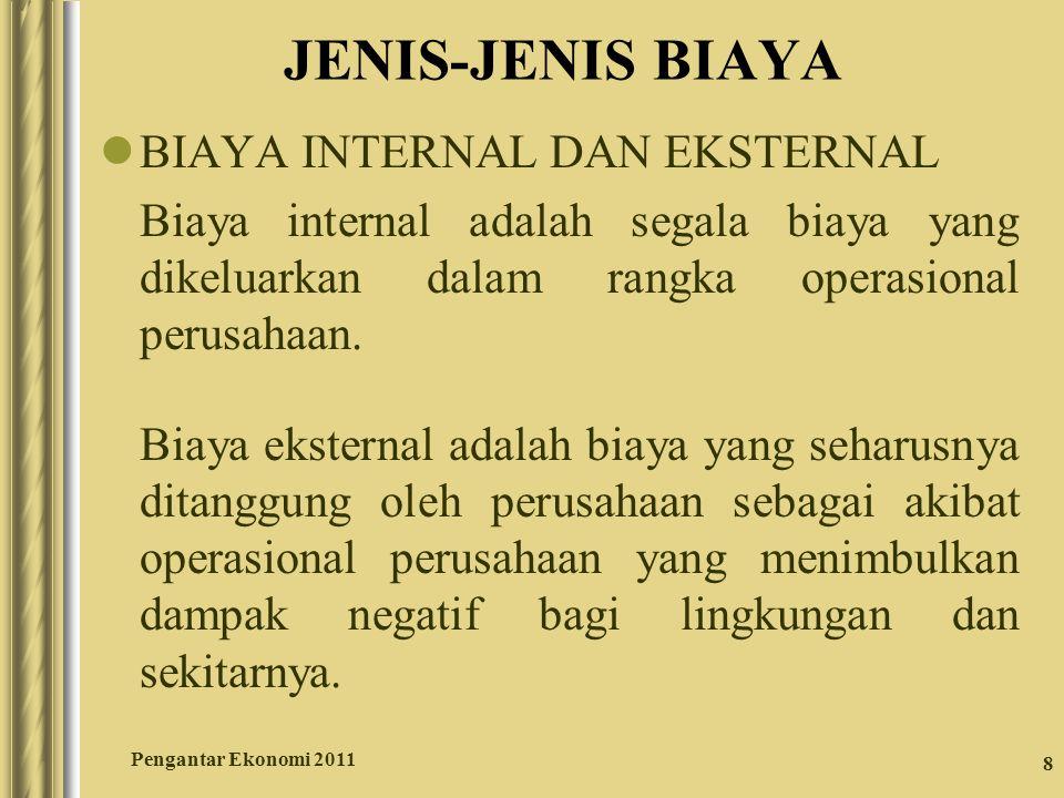 8 JENIS-JENIS BIAYA BIAYA INTERNAL DAN EKSTERNAL Biaya internal adalah segala biaya yang dikeluarkan dalam rangka operasional perusahaan. Biaya ekster