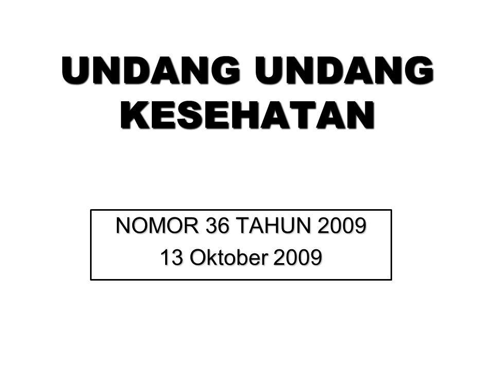 UNDANG UNDANG KESEHATAN NOMOR 36 TAHUN 2009 13 Oktober 2009
