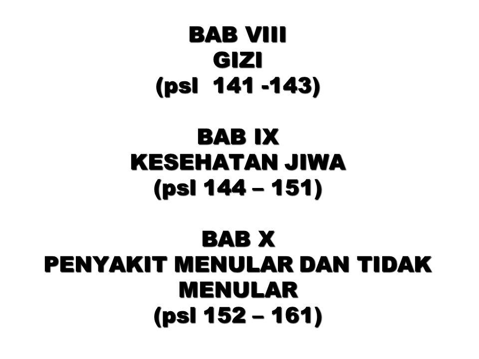 BAB VIII GIZI (psl 141 -143) BAB IX KESEHATAN JIWA (psl 144 – 151) BAB X PENYAKIT MENULAR DAN TIDAK MENULAR (psl 152 – 161)