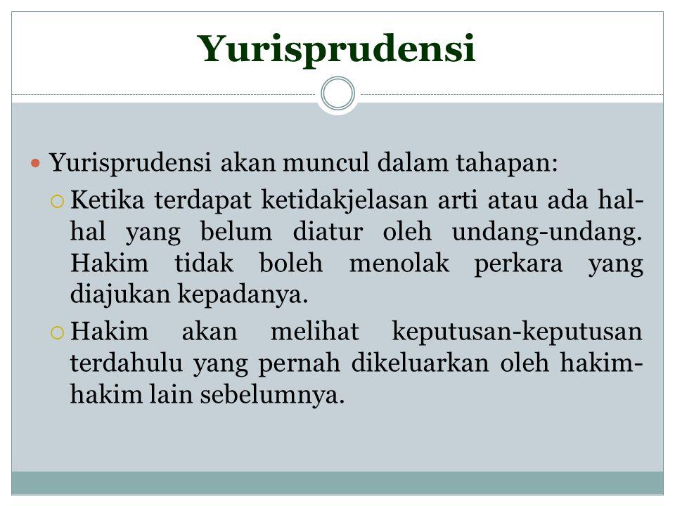 Yurisprudensi Yurisprudensi akan muncul dalam tahapan:  Ketika terdapat ketidakjelasan arti atau ada hal- hal yang belum diatur oleh undang-undang. H