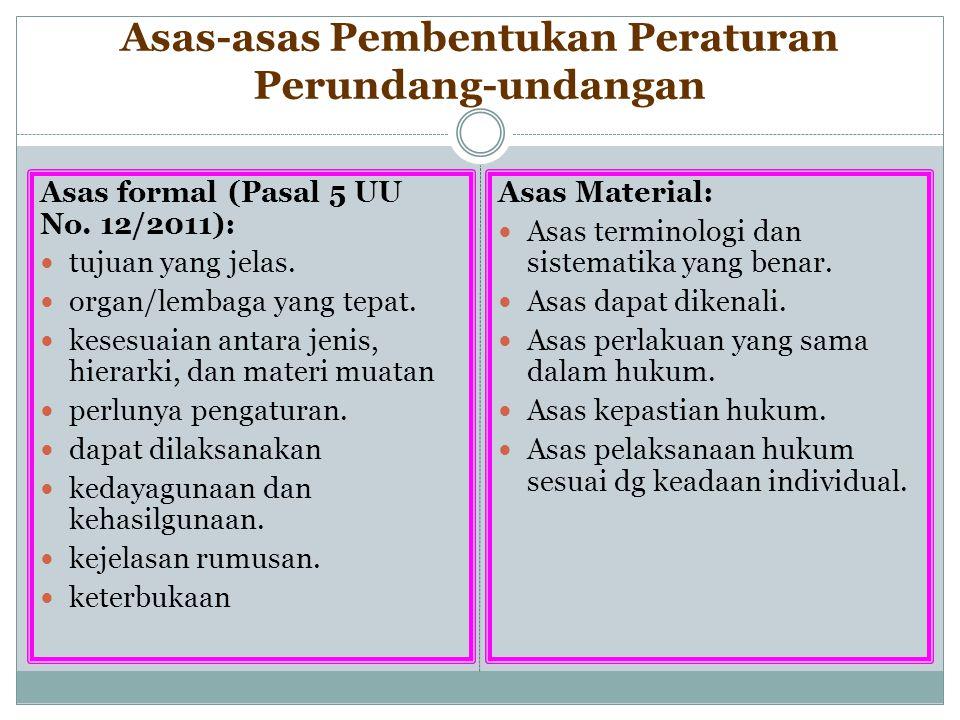 Asas-asas Pembentukan Peraturan Perundang-undangan Asas formal (Pasal 5 UU No. 12/2011): tujuan yang jelas. organ/lembaga yang tepat. kesesuaian antar