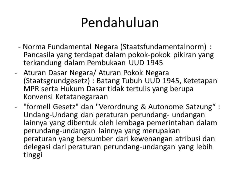 Pendahuluan - Norma Fundamental Negara (Staatsfundamentalnorm) : Pancasila yang terdapat dalam pokok-pokok pikiran yang terkandung dalam Pembukaan UUD