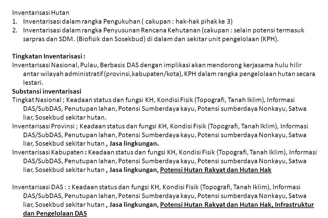 Inventarisasi Hutan 1.Inventarisasi dalam rangka Pengukuhan ( cakupan : hak-hak pihak ke 3) 2.Inventarisasi dalam rangka Penyusunan Rencana Kehutanan