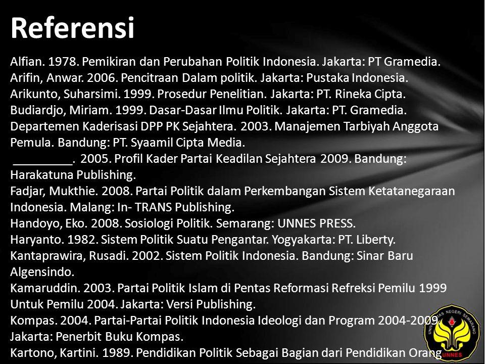 Referensi Alfian. 1978. Pemikiran dan Perubahan Politik Indonesia.