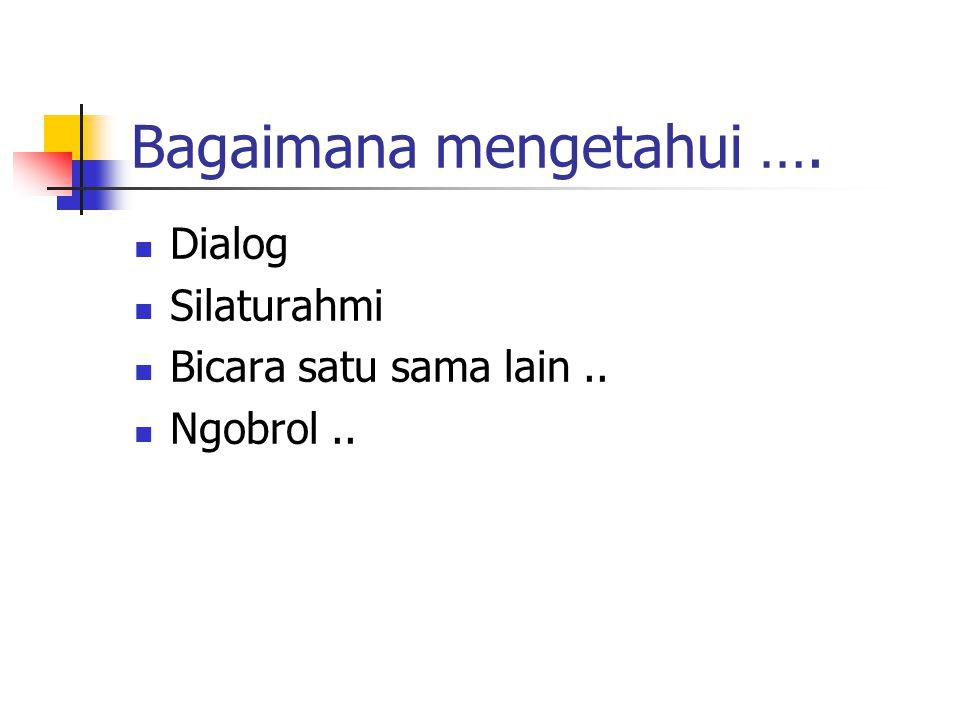 Dialog Silaturahmi Bicara satu sama lain.. Ngobrol..