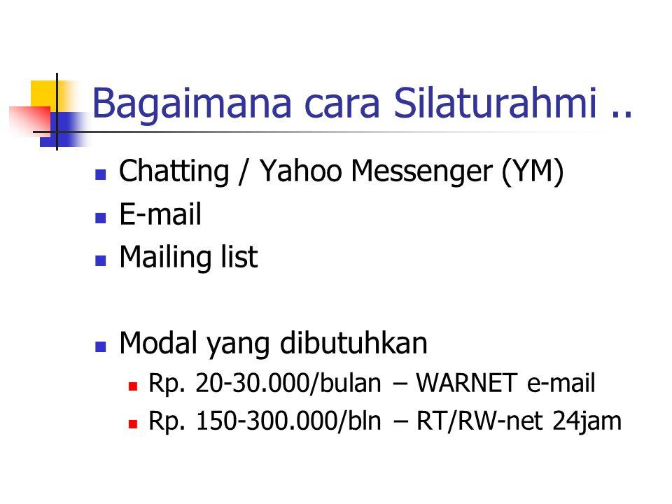 Chatting / Yahoo Messenger (YM) E-mail Mailing list Modal yang dibutuhkan Rp.