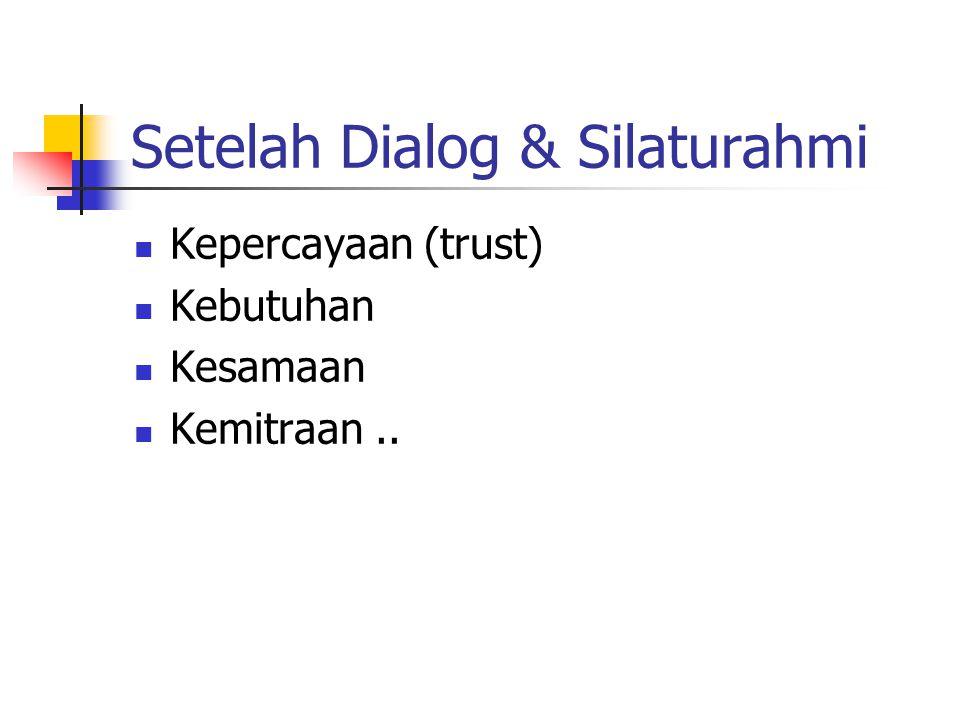 Setelah Dialog & Silaturahmi Kepercayaan (trust) Kebutuhan Kesamaan Kemitraan..