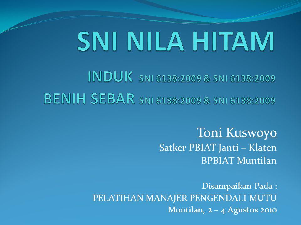 Toni Kuswoyo Satker PBIAT Janti – Klaten BPBIAT Muntilan Disampaikan Pada : PELATIHAN MANAJER PENGENDALI MUTU Muntilan, 2 – 4 Agustus 2010