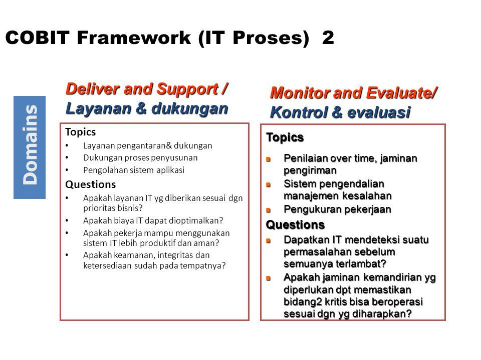 Topics Layanan pengantaran& dukungan Dukungan proses penyusunan Pengolahan sistem aplikasi Questions Apakah layanan IT yg diberikan sesuai dgn prioritas bisnis.