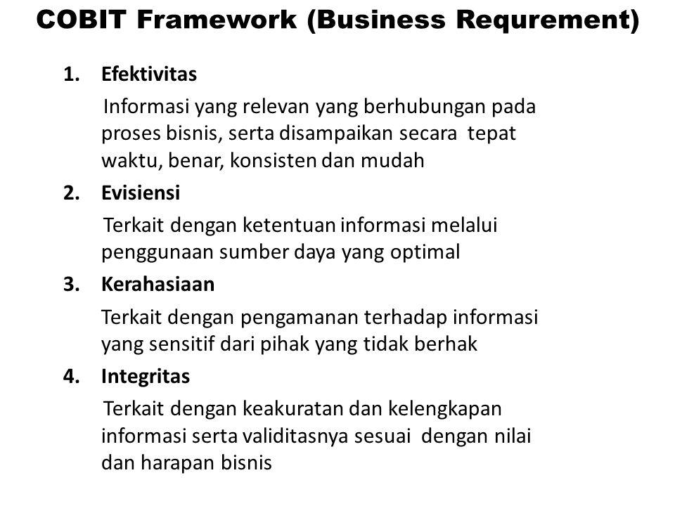 1.Efektivitas Informasi yang relevan yang berhubungan pada proses bisnis, serta disampaikan secara tepat waktu, benar, konsisten dan mudah 2.Evisiensi Terkait dengan ketentuan informasi melalui penggunaan sumber daya yang optimal 3.Kerahasiaan Terkait dengan pengamanan terhadap informasi yang sensitif dari pihak yang tidak berhak 4.Integritas Terkait dengan keakuratan dan kelengkapan informasi serta validitasnya sesuai dengan nilai dan harapan bisnis COBIT Framework (Business Requrement)