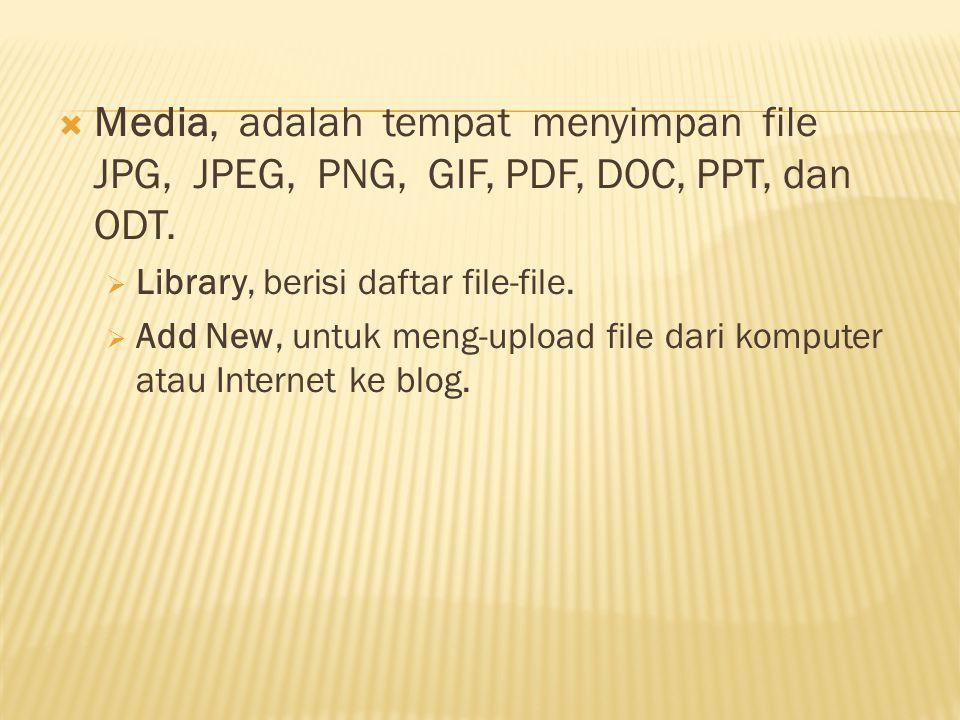 Post, adalah menu untuk membuat dan mengedit tulisan atau artikel:  Edit, untuk mengedit tulisan yang sudah ada.  Add New, untuk membuat tulisan bar