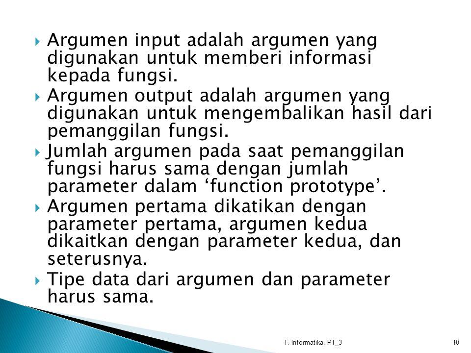  Argumen input adalah argumen yang digunakan untuk memberi informasi kepada fungsi.  Argumen output adalah argumen yang digunakan untuk mengembalika