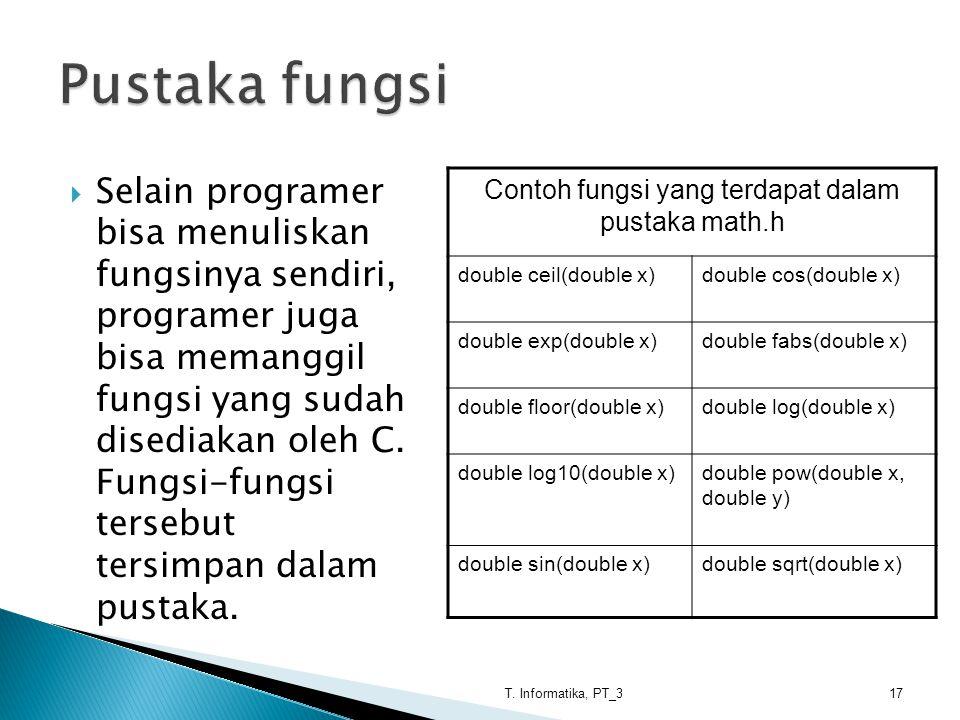  Selain programer bisa menuliskan fungsinya sendiri, programer juga bisa memanggil fungsi yang sudah disediakan oleh C. Fungsi-fungsi tersebut tersim