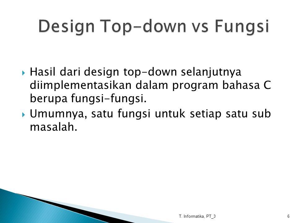  Hasil dari design top-down selanjutnya diimplementasikan dalam program bahasa C berupa fungsi-fungsi.  Umumnya, satu fungsi untuk setiap satu sub m