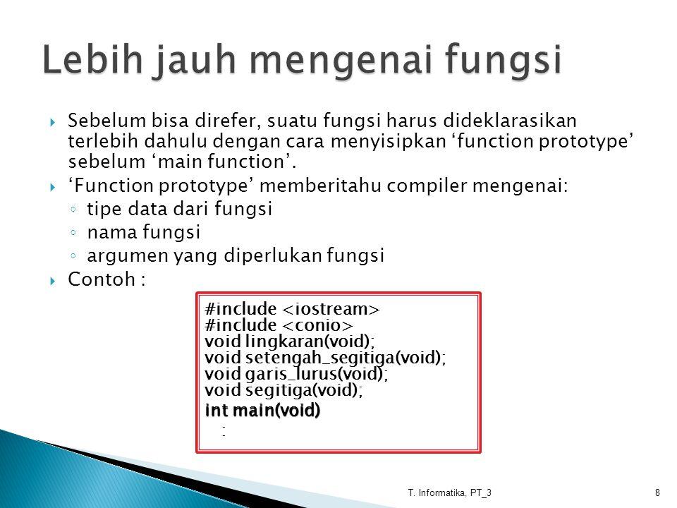  Sebelum bisa direfer, suatu fungsi harus dideklarasikan terlebih dahulu dengan cara menyisipkan 'function prototype' sebelum 'main function'.  'Fun