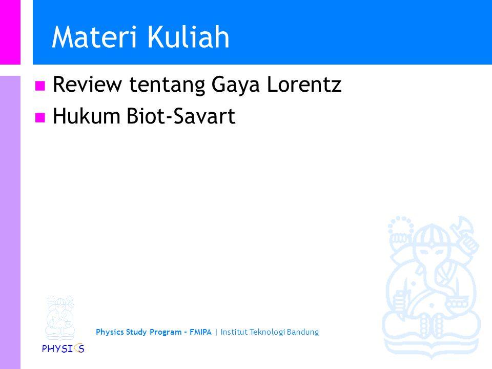 Physics Study Program - FMIPA   Institut Teknologi Bandung PHYSI S Contoh medan magnetik yang lain Pusat loop kawat dengan jari-jari R Pusat lilitan kawat berjari-jari R dengan N lilitan Pada suatu jarak a dari kawat lurus panjang
