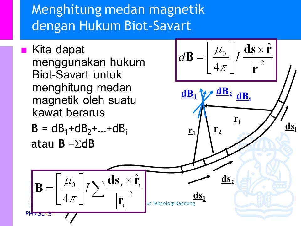 Physics Study Program - FMIPA | Institut Teknologi Bandung PHYSI S Hukum Biot – Savart Semua hasil di atas dapat disimpulkan dalam suatu hukum yang dikenal sebagai Hukum Biot- Savart Masukkan konstanta : dimana  0 adalah permeabilitas ruang hampa