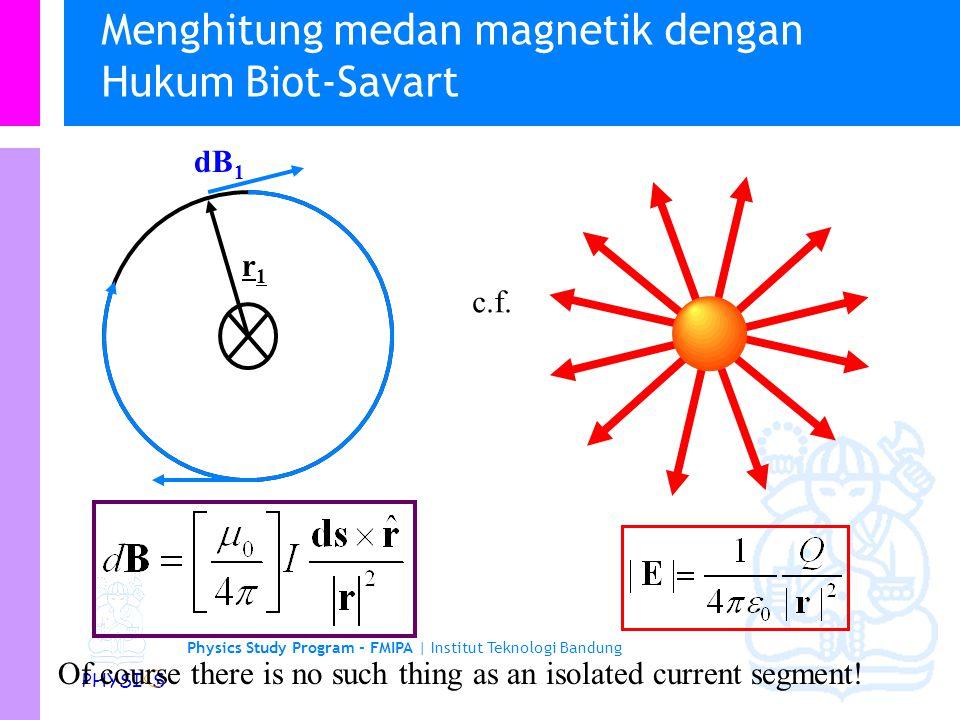 Physics Study Program - FMIPA | Institut Teknologi Bandung PHYSI S Menghitung medan magnetik dengan Hukum Biot-Savart Kita dapat menggunakan hukum Biot- Savart untuk menentukan arah dari medan oleh segmen kawat r1r1 ds 1 dB 1 r1r1 ds r dB