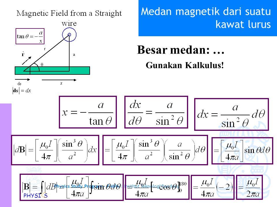 Physics Study Program - FMIPA | Institut Teknologi Bandung PHYSI S Medan magnetik dari suatu kawat lurus B selalu keluar dari kertas Arah medan: Besar medan: Lebih mudah kalau di nyatakan dalam  ds r dB