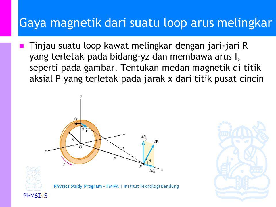 Physics Study Program - FMIPA | Institut Teknologi Bandung PHYSI S Contoh lain … Untuk segmen lurus AA' dan CC': Untuk segmen AC, elemen panjang ds selalu tegak lurus dengan r dan mempunyai jarak yang sama ke titik O, sehingga Dengan demikian
